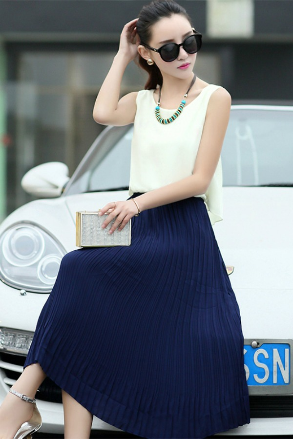 LONG DRESS WANITA KOREA - Blue Korean Maxi Dress