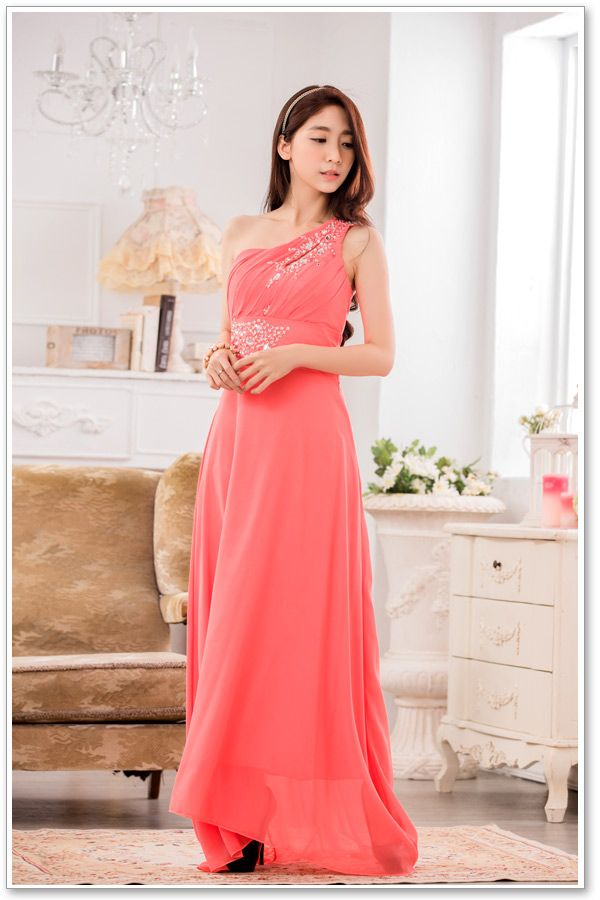 LONG DRESS PESTA - PinkSalem Chiffon Party Dress