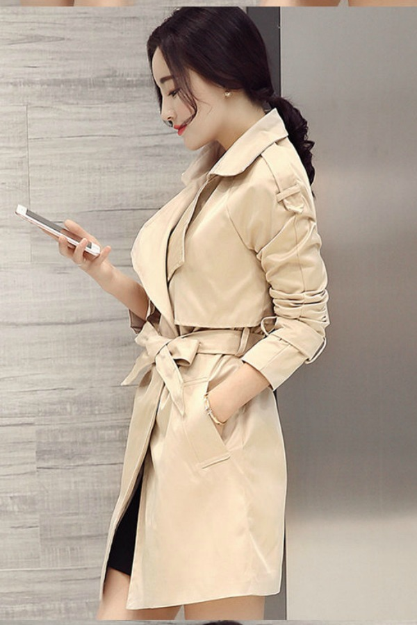 LONG COAT WANITA - Apricot Korean Trench Coat