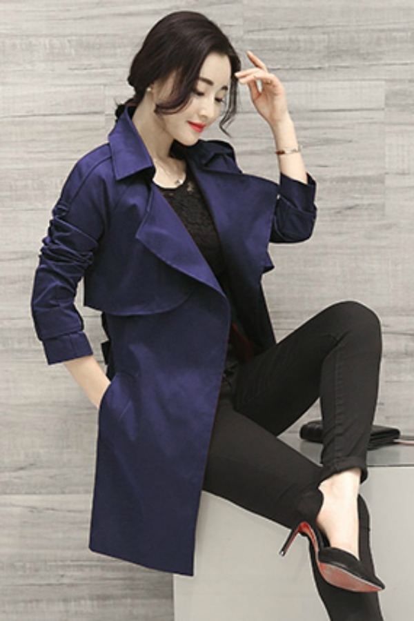 LONG COAT WANITA - NavyBlue Korean Trench Coat