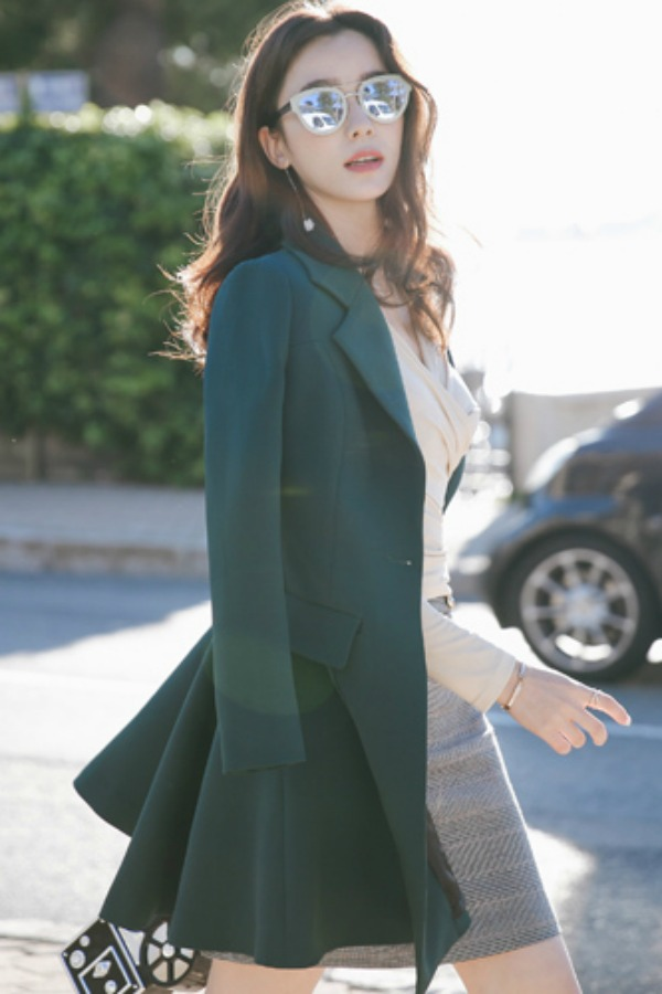 BLAZER WANITA KOREA - DarkGreen Korean Long Coat