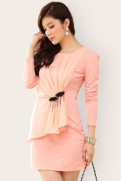 BUSANA KERJA WANITA - Pink Long Sleeved Dress