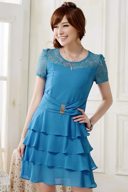 DRESS CANTIK KOREA - Blue Glam Dress