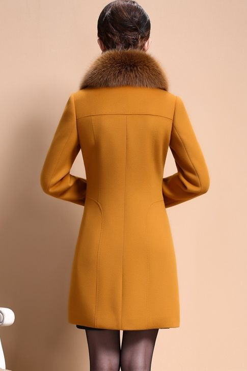 JAKET BULU BIG SIZE - Yellow Fur Worsted Wool Coat