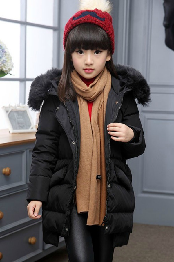 JAKET BULU ANAK - Fur Black Down Coat for