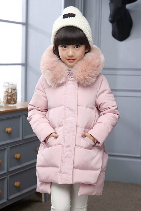 JAKET BULU ANAK - Fur Pink Down Coat for Children
