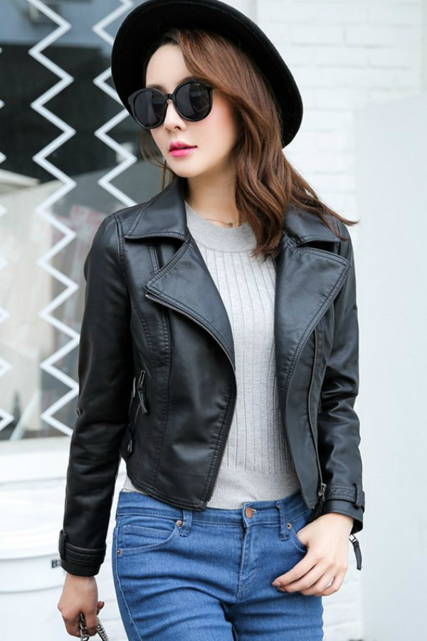 JAKET WANITA - Black PU Leather Short Jacket