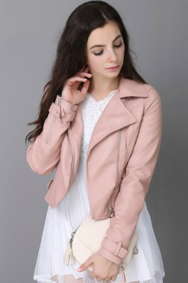 JAKET WANITA - Pink PU Leather Short Jacket