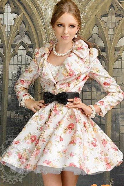 LONG COAT WANITA - Floral Woman Coat