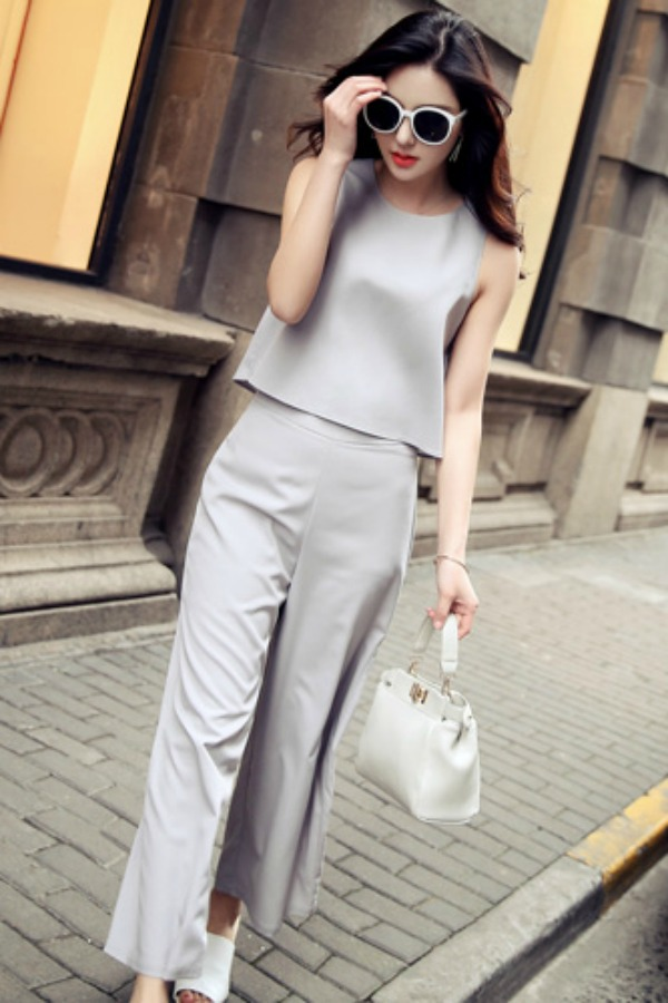 BAJU JUMPSUIT KOREA - 2PCS Gray