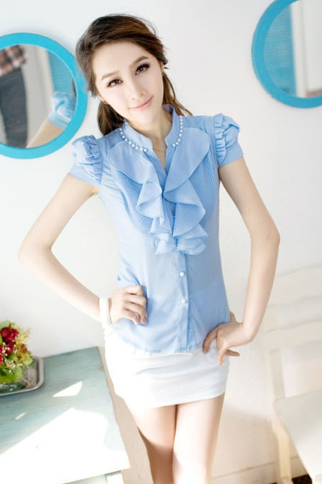 BAJU BLOUSE IMPORT KOREA - Blue Short Sleeve Blous