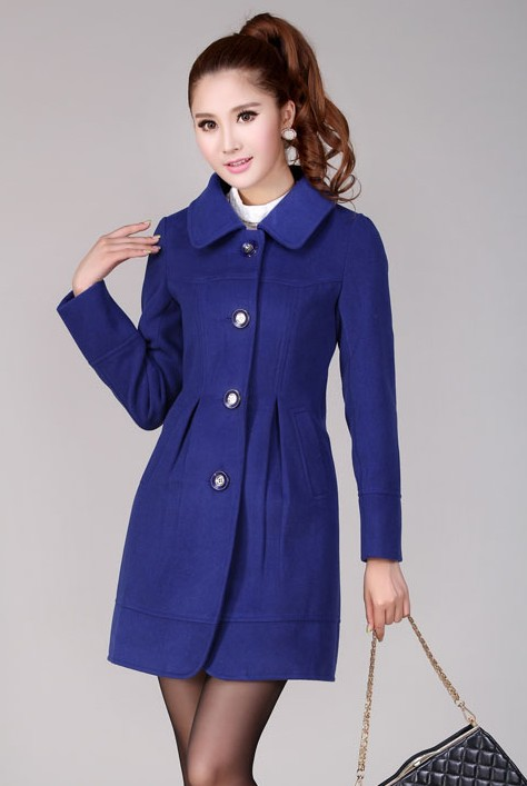 LONG COAT KOREA - Blue Charming Woolen Coat