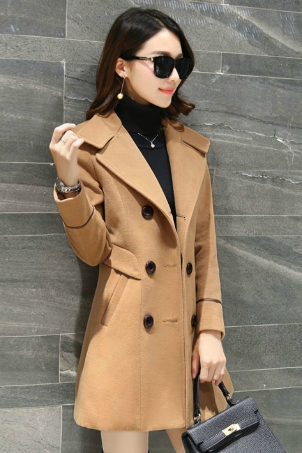 COAT WANITA KOREA - LightTan Trendy Coat