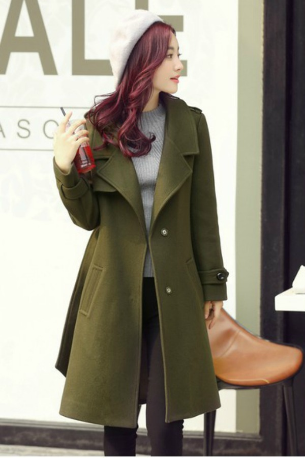 JAKET IMPORT KOREA - Green KOREAN LONG COAT