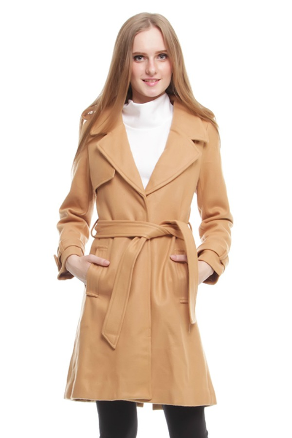 WOLEN COAT IMPORT - Khaki LONG COAT