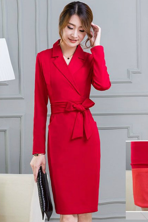 BUSANA KERJA WANITA KOREA - Red Long Sleeved Dress