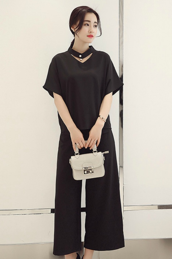 BAJU FASHION KOREA - 2PCS Black Set Pants