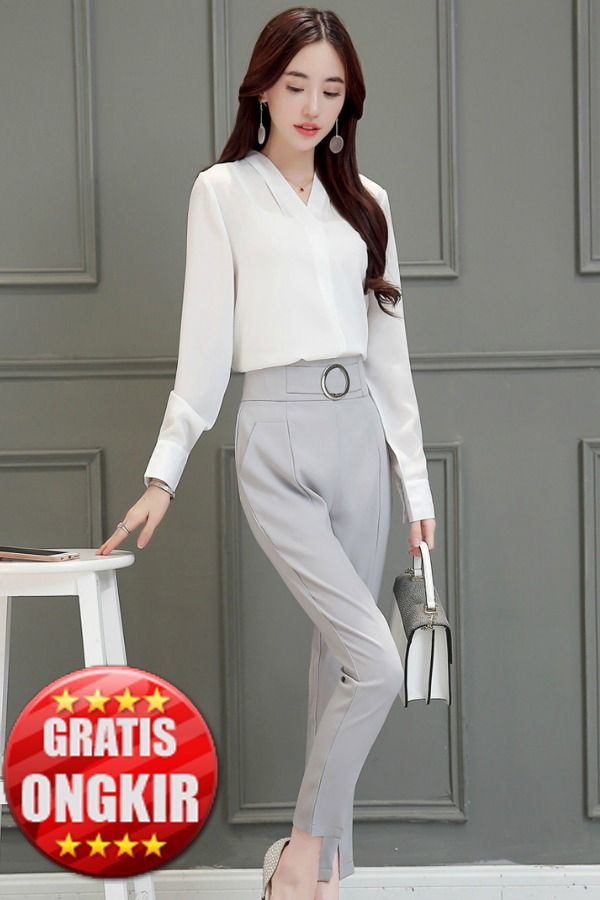 BUSANA KERJA WANITA IMPORT � 2Pcs White Blouse & Pants