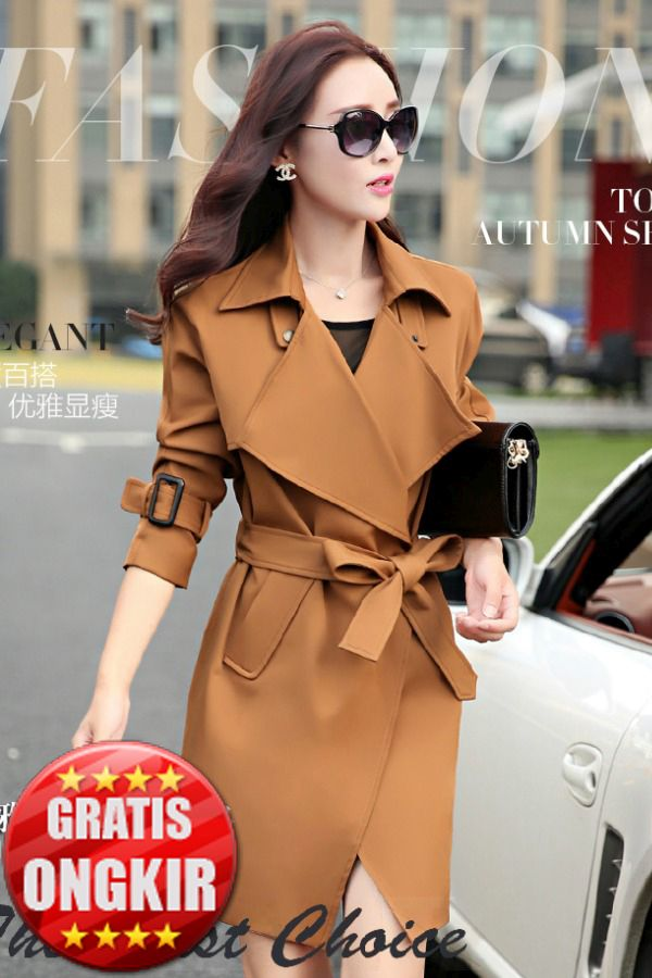 BLAZER WANITA KOREA - Cinnamon Long Coat