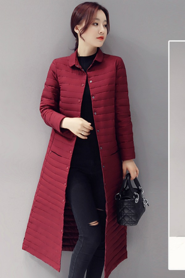 JAKET DOWN COAT MUSIM DINGIN - Red Down Coat