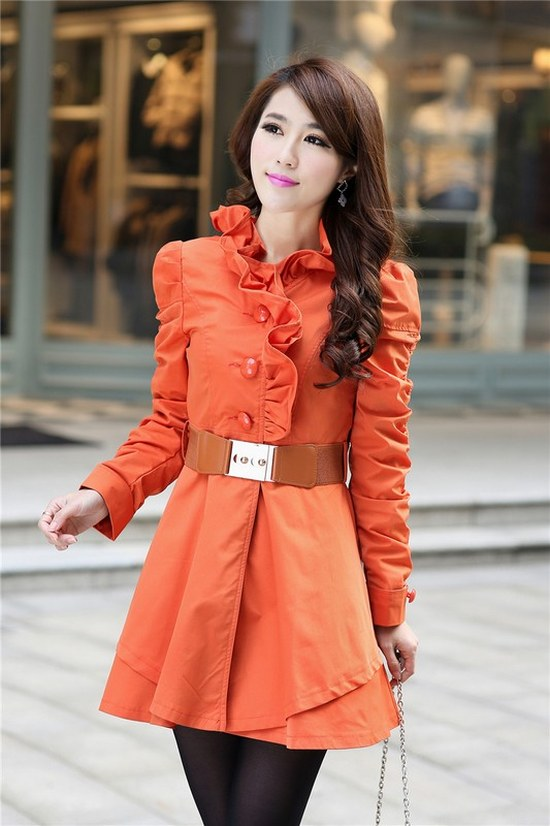 LONG COAT KOREA STYLE - Orange Trendy korean Look