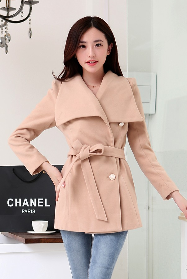 JAKET WANITA KOREA - LightTan Korean Coat
