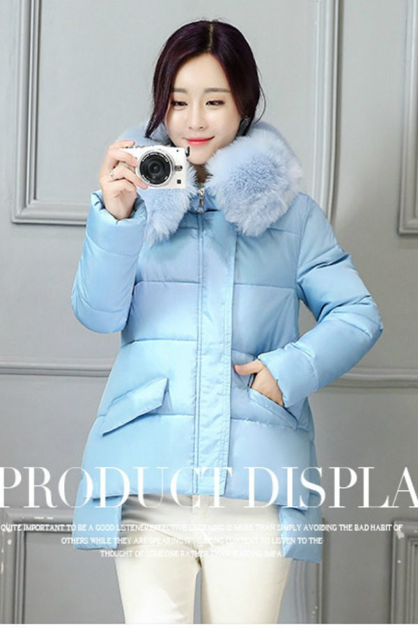 JAKET BULU IMPORT - Blue Fur Down Coat
