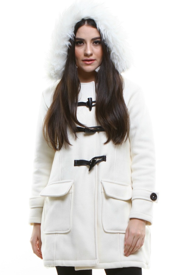 JAKET BULU WANITA - White Fur Winter Coat