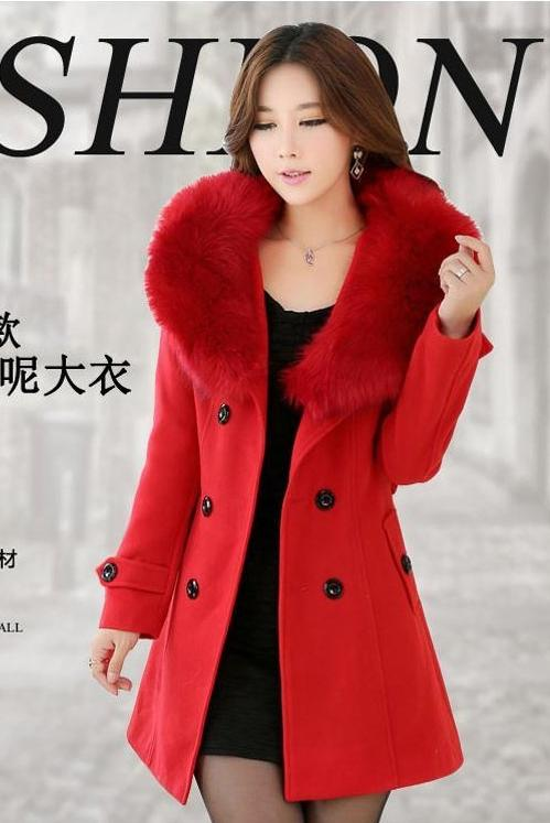 JAKET BULU WANITA - Red Fur Jacket