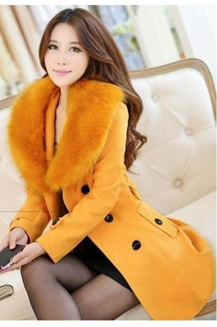 JAKET BULU WANITA - Yellow Fur Jacket