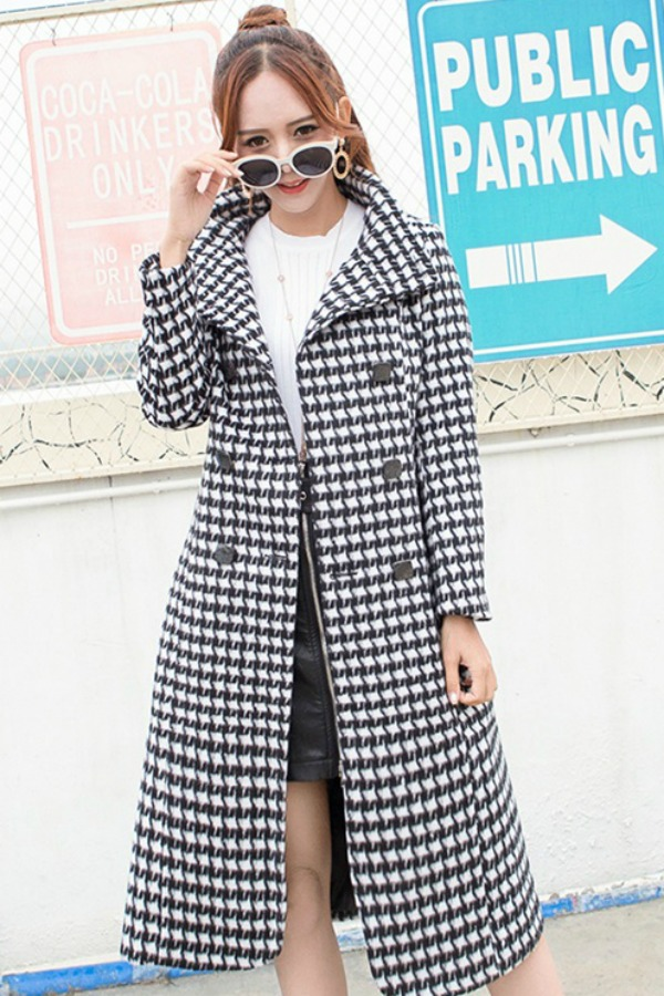 LONG COAT WANITA KOREA - White Houndstooth Coat