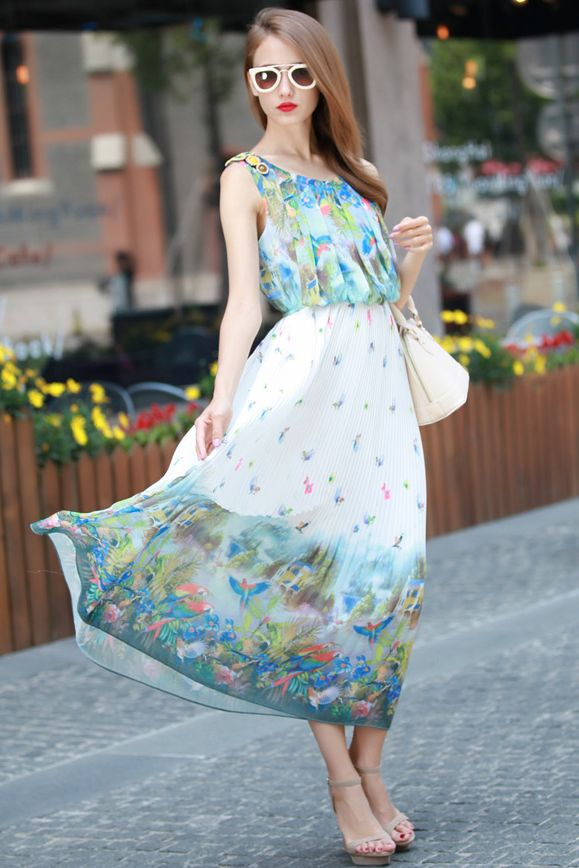 LONG DRESS CHIFFON KOREA - Nature Maxi Dress