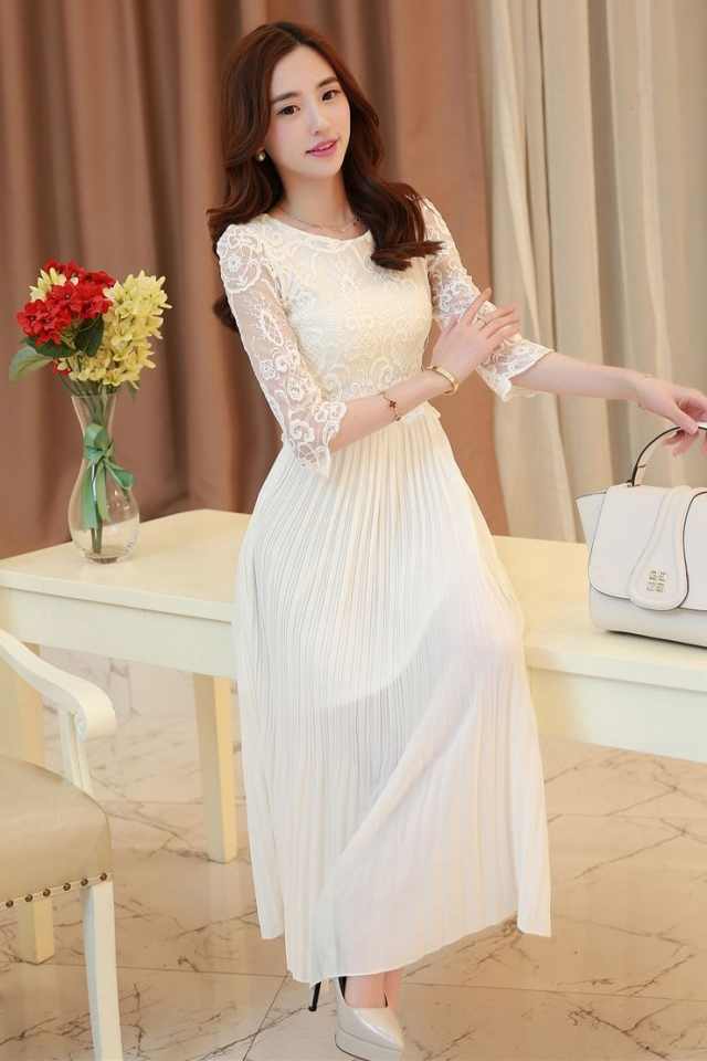 SEMI LONG DRESS - White Lace Long Dress