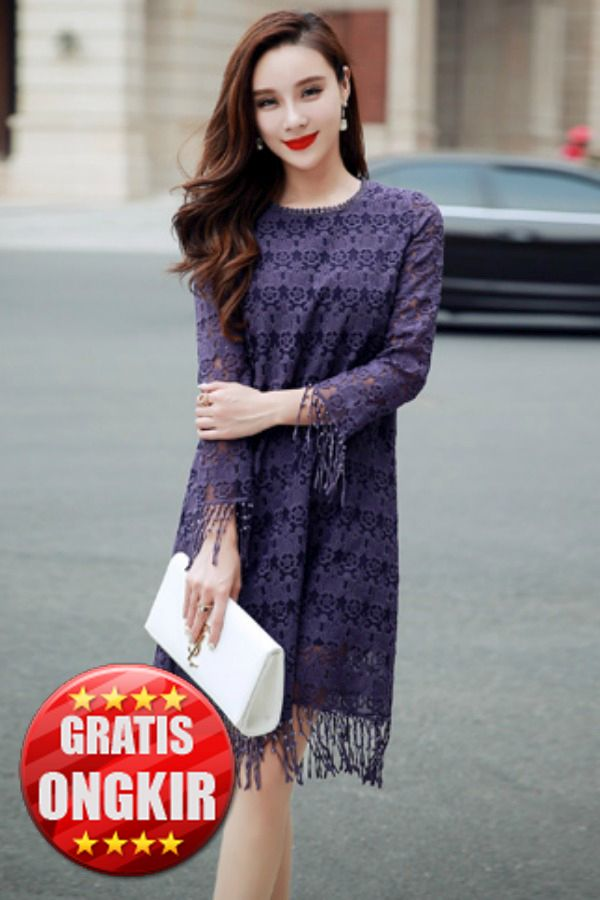 Dress Cantik Wanita Korea - PURPLE MANGO LACE DRESS
