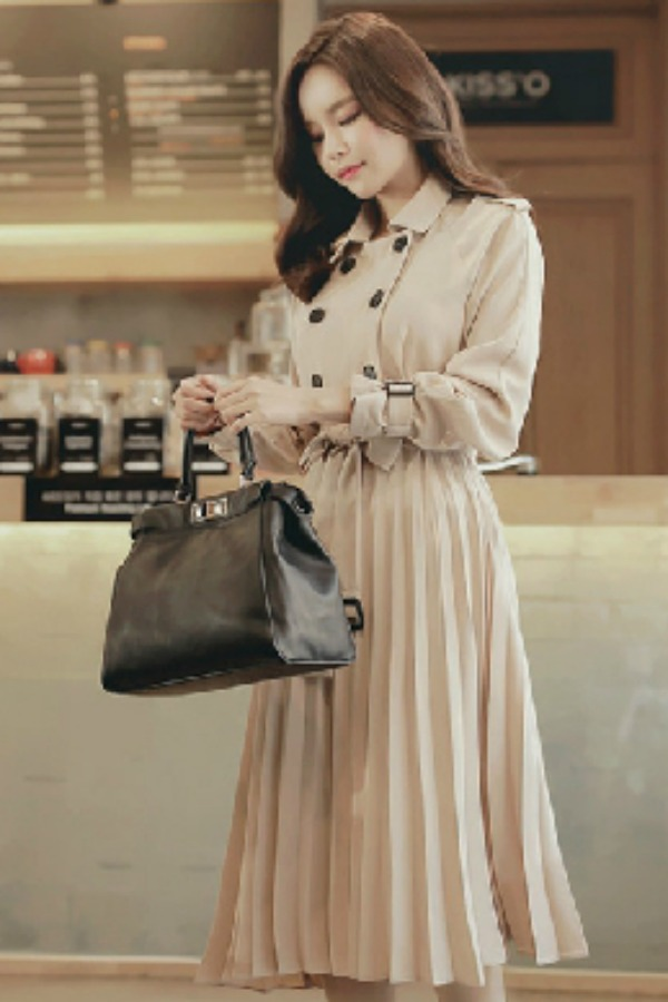 LONG COAT WANITA KOREA - Apricot Korean