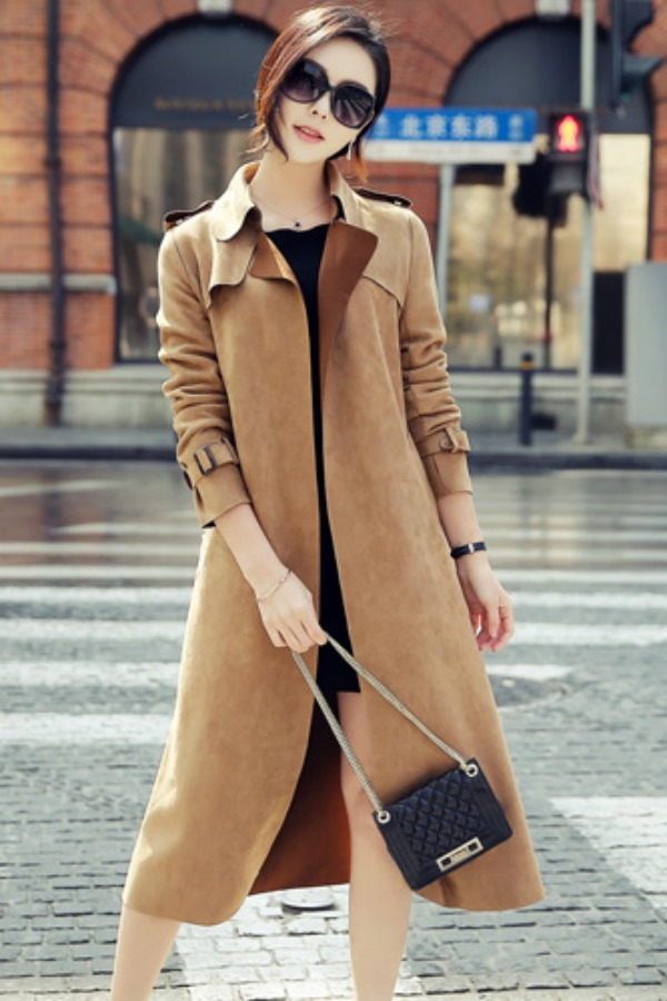 LONG COAT WANITA KOREA - LightTan Trendy Long Blazer