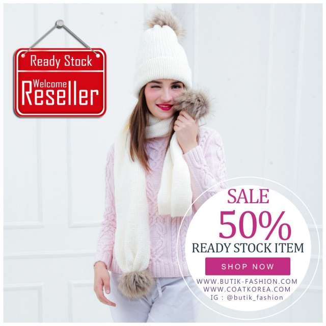 SET TOPI RAJUT & SCARF - 5 COLOR PomPom Fur Knitted Hat