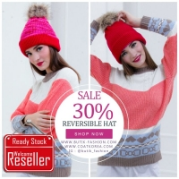TOPI RAJUT 2 SISI - ROGUE RED Reversible Knitted Hat