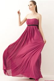 CHIFFON LONG DRESS - MauveRed Korean Long Dress