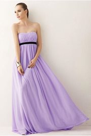 CHIFFON LONG DRESS - Purple Korean Long Dress