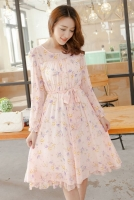 DRESS CHIFFON KOREA - Pink Chiffon Dress