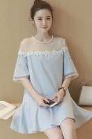 DRESS CANTIK KOREA - BIGSIZE Blue Korean Dress