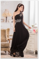 LONG DRESS PESTA - Black Chiffon Party Dress