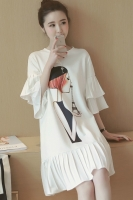 DRESS CANTIK KOREA - BIGSIZE White Korean Dress