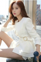 BLAZER WANITA KOREA - With Belt White Women Blazer