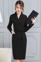BUSANA KERJA WANITA KOREA - Black Long Sleeved Dress