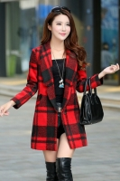 LONG COAT WANITA KOREA - Red Square Pattern Coat