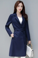 LONG COAT WANITA KOREA - Navy Windbreaker