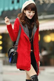 JAKET WANITA KOREA - Red Knitted Jacket