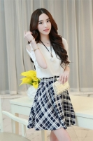 DRESS CANTIK KOREA - Fake 2Pcs Dress